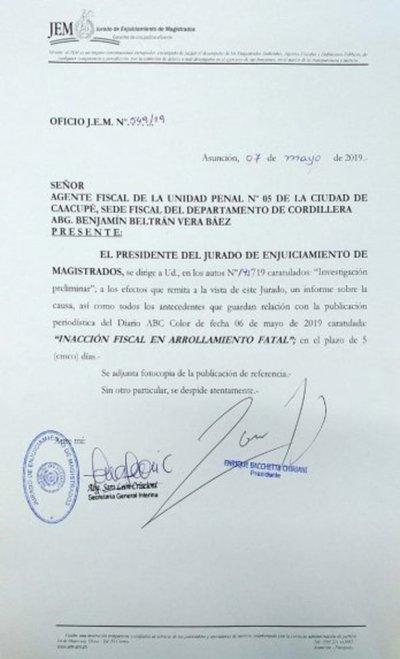 JEM intima por informes a fiscal Beltrán Vera