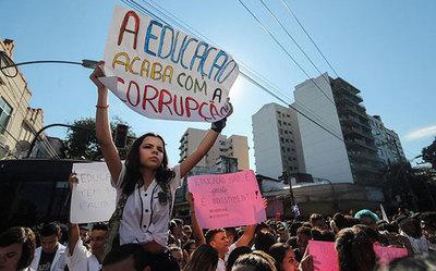 Estudiantes marchan por recortes del gobierno de Bolsonaro en Brasil