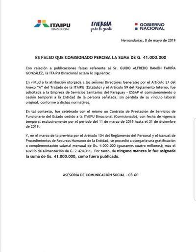 Itaipu niega que funcionario cobre Gs. 41 millones
