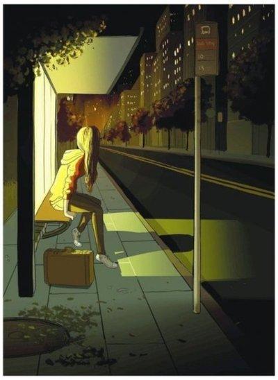 Noche oscura, lluvia, el bus no viene, nadie me responde. ¡Mamá!, ¿dónde estás?