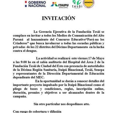 """Lanzarán concurso """"Pará-na los criaderos"""" en escuelas altoparanaenses"""