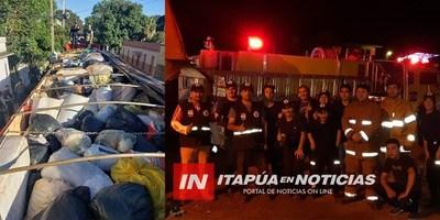 SOLIDARIDAD: BOMBEROS DE ITAPÚA LLEGARON CON DONATIVOS A ÑEEMBUCÚ.