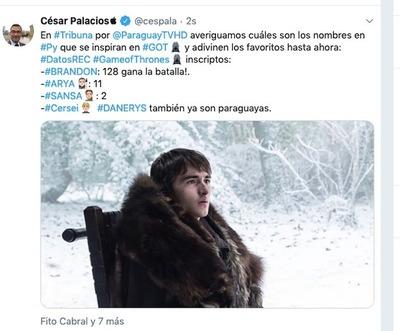 Los paraguayos ya usan los nombres de personajes de la serie Game of Thrones