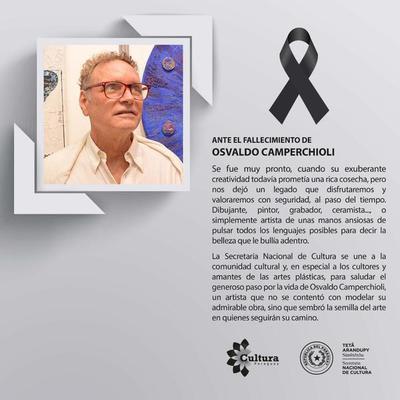 Pesar por el fallecimiento del artista visual Osvaldo Camperchioli