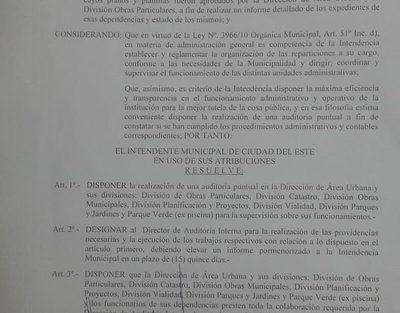 Intendente de CDE dispone auditoría a la Dirección de Área Urbana