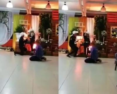 De rodillas, Junior le pidió boda a Fátima Román
