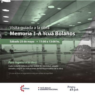 Nueva fecha para visita guiada a obras del Memorial 1-A
