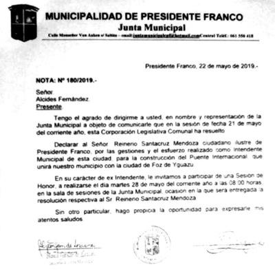 Alcides Fernández respalda la decisión de la Junta de distinguir a don Reinerio Santacruz