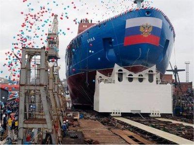 """Rusia bota un nuevo gran rompehielos atómico, el """"Ural"""""""