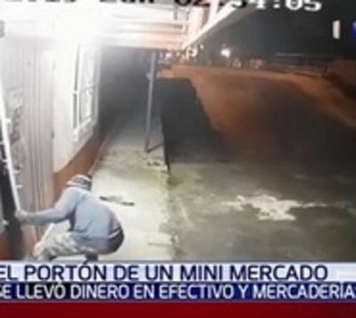 Ladrón roba en minimercado tras forzar el portón
