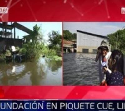 Así es la inundación en Piquete Cué, Limpio