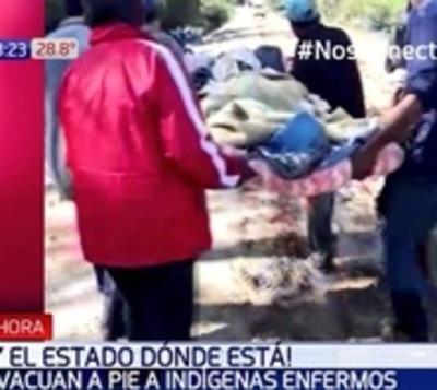 Abandono del Estado: Evacuan 30 kilómetros a pie a indígena enfermo