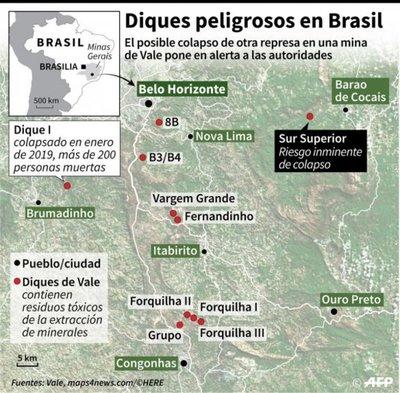 Brasil, en alerta por posible colapso de dique