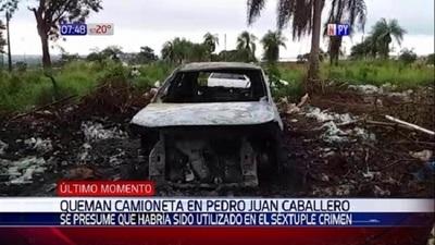 Incineran vehículo usado en masacre en Pedro Juan