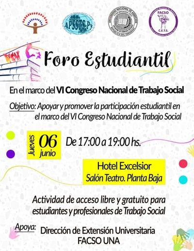 Foro de Estudiantes de Trabajo Social será este jueves