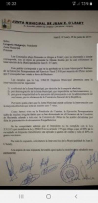 Junta Municipal de Juan E. Oleary aprueba intervención de comuna