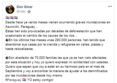 Don Omar se solidariza con damnificados