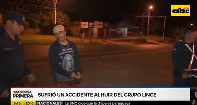 Hombre con arresto domiciliario huye del Grupo Lince y sufre accidente