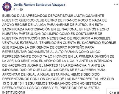 Liga Paranaense desconoce reglamento del Nacional B al programar la revancha y Cerro presentaría a inferiores