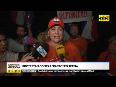 Protestan contra pacto en terna