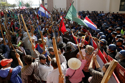 Marcha campesina bloquea varias calles