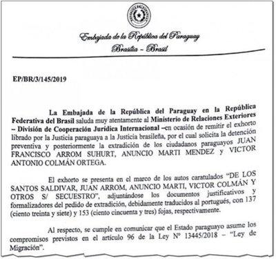 Entregan la extradición de Arrom, Martí y Colmán