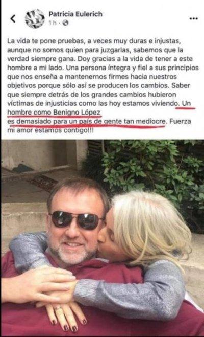 Benigno López justifica expresiones de su esposa