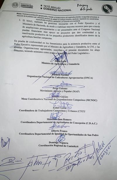 Anuncian acuerdo entre Gobierno y Coordinadora Intersectorial Campesina