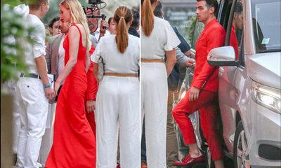 Joe Jonas y Sophie Turner asisten a la cena de ensayo de su boda vestidos de rojo