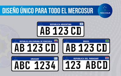 Chapas con formato único para el Mercosur, ya están en vigencia