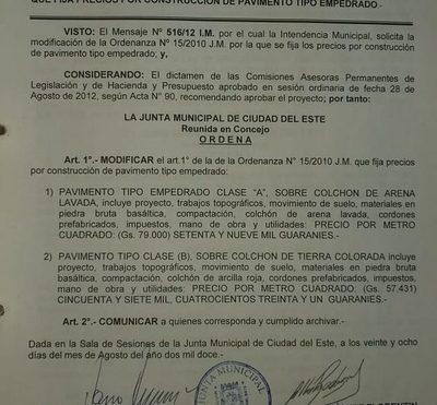 Prieto pide a la Junta modificar absurda sobrefacturación en costo de empedrados