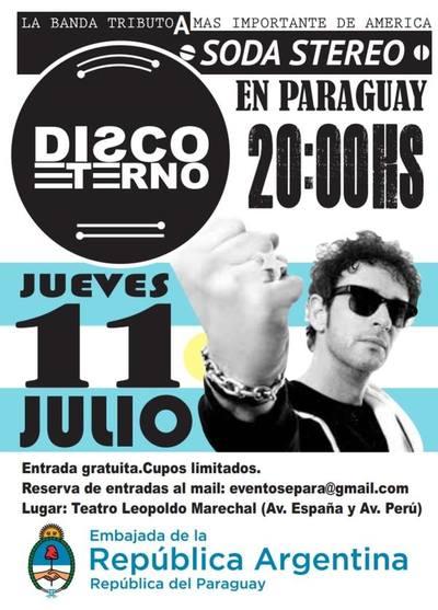 Embajada invita al concierto tributo a Soda Stereo