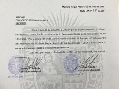 Prohíben a UBER y MUV prestar servicio en Mariano Roque Alonso