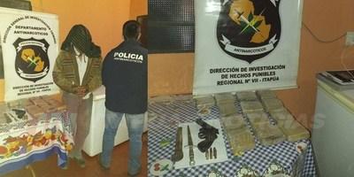 HOMBRE CAYÓ PRESO CON 5 KG DE MARIHUANA, UN ARMA DE FUEGO Y UN PUÑAL.