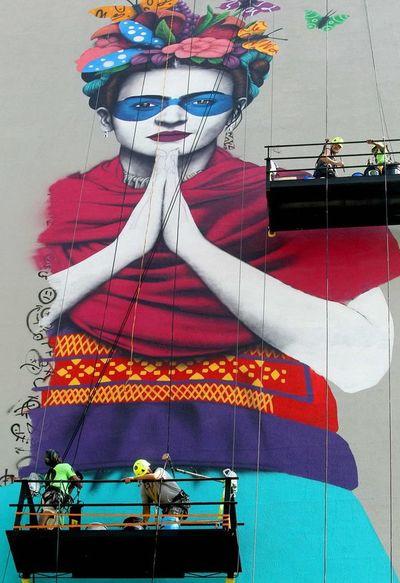 Frida Kahlo, en gran mural