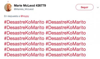 Por escribir '#DesastreKoMarito' tuvo un tirón de orejas