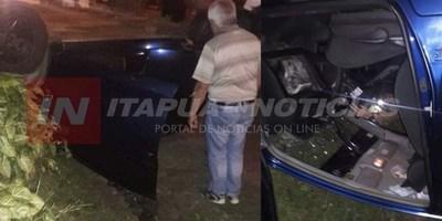 VIOLENTO VUELCO DE AUTOMÓVIL EN PLENO CENTRO DE CNEL. BOGADO