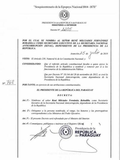 Poder Ejecutivo designa a René Fernández al frente de la Secretaría Nacional Anticorrupción