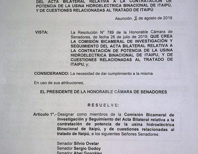 Cinco representantes del Senado para investigar sobre Caso Itaipú