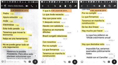 Abdo Benítez asumía en mensajes que Brasil presionaba al Paraguay
