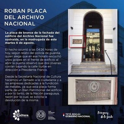 Cultura denuncia robo de placa del Archivo Nacional