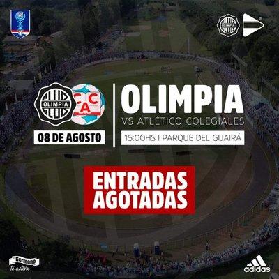 Copa Paraguay: Colegiales y Olimpia miden fuerzas en estadio lleno