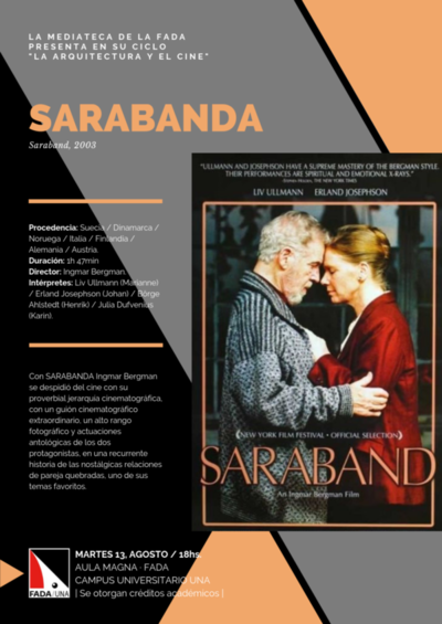 Este martes se exhibirá el film Sarabanda en la FADA – UNA