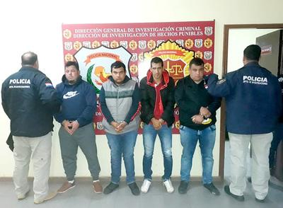 Cuatro delincuentes aprehendidos tras asalto y robo de G. 150 millones a un contratista