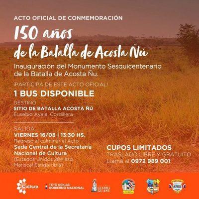 Invitan a la inauguración del monumento en homenaje a los niños mártires de Acosta Ñu