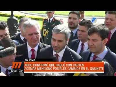 Mario Abdo confirmó que habló con Cartes y mencionó posibles cambios en el Gabinete