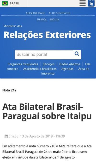 Brasil reitera que Acta Bilateral del 24 de mayo quedó sin efecto