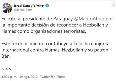 Ministro israelí felicita a Abdo Benítez