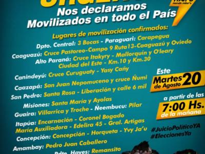 'Nos declaramos movilizados en todo el país', afirma Efraín Alegre