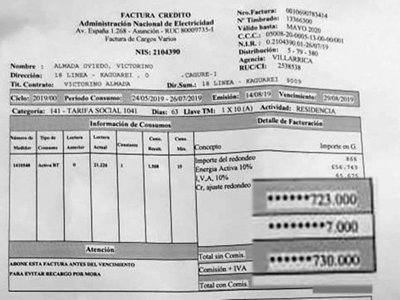 De 22 mil su factura de ANDE saltó a G. 730.000